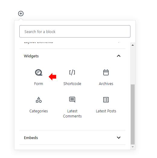 Block editor insert form