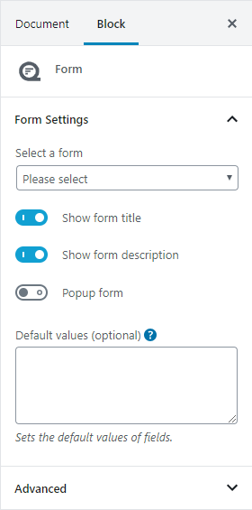 Quform editor block settings